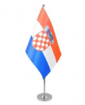 Croatia Desk / Table Flag with chrome stand and base.